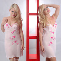 Plus Size 1X 2X or 3X Pink Georgette Embroidered Chemise  Lingerie  VX4069