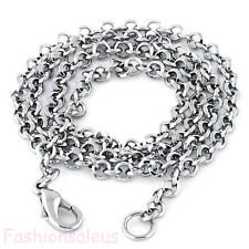 17'' Inch Stainless Steel Ring Circles Buckle Rolo Link Chain Men's Necklace
