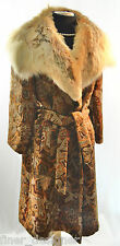 Women's Fox VTG genuine FUR collar COAT long Jacket tapestry formal warm SZ S M