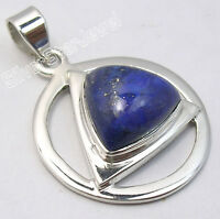 925 Sterling Silver Amazing LAPIS LAZULI HANDCRAFTED TRIANGLE PENDANT 3.5 CM NEW