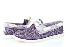 Sperry Top Sider Womens Sparkling Purple Fabric Slip On Boat Shoes Size 6 M
