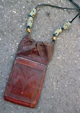ORIGINAL LEATHER PARCHMENT SCROLL AMULET NECKLACE JEWELRY ETHIOPIAN PROTECTION
