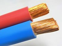 200' FT 1/0 AWG WELDING/BATTERY CABLE 100' RED 100' BLUE 600V MADE IN USA COPPER