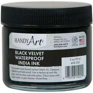 Handy Art Black Velvet India Ink 2oz Glass Jar  075176152211