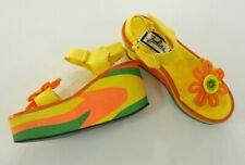 Zodiac Vintage Yellow Orange Disco Flower Power Platform Sandals EU 36 US 5B