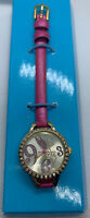 Disney Tinker Bell Ladies Watch Pink Band Gold Tone Crystal Accents Analog Japan