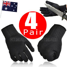 4x Pair Safety Works Anti-Slash Stainless Steel Stab Resistant Cut Proof Gloves