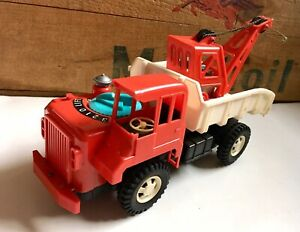 Vintage 1960s Toy Motorised Plastic Crane Tow Truck Made In Japan