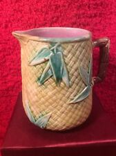 Antique Majolica Bamboo Leaves & Basketweave Creamer Pitcher c1800's, em60