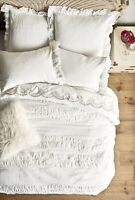 NWT Anthropologie white Ruched Textured Toulouse Cotton Tie Duvet Cover Full