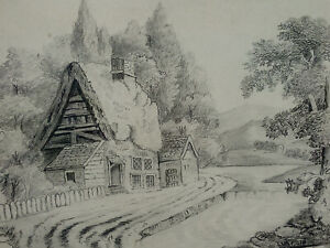 Countryside Cottage by a Stream - Victorian Pencil Drawing