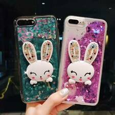 Dynamic Liquid Glitter Quicksand rabbit Phone Back Case Cover & neck strap #21