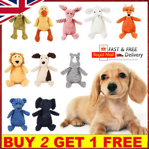 Pet Dog Puppy Chew Toy Squeaker Squeaky Soft Plush Play Sound Teeth Toys Gift UK