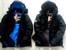 Superdry Mens Wind Hybrid Hooded Jacket Mesh Lined Coat Black Windcheater Large