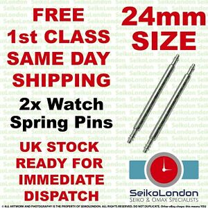 2 x 24mm Stainless Steel Watch Strap Spring Bars Pins FREE 1st Class Post FAST!!
