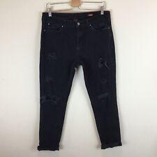 Arizona Women's Black Distressed Destroyed Boyfriend Jeans Size 13