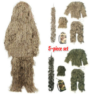 5 in 1 Ghillie Suit 3D Woodland Camouflage Forest Clothing for Hunting Airsoft