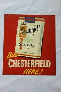 """TIN """"BUY CHESTERFIELD HERE"""" CIGARETTE ADVERTISING SIGN #1"""
