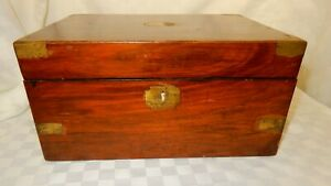 Vintage Brass Bound Military Style Rosewood Writing Slope for Restoration  (K4)