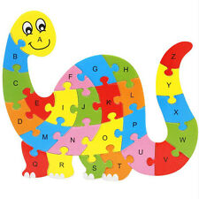 Wooden ABC Alphabet Jigsaw Dinosaur Puzzle Children Educational Learning Toys BH