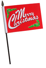 Merry Christmas Red Holly Small Hand Waving Flag