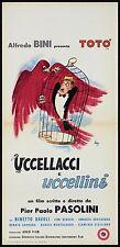 UCCELLACCI E UCCELLINI LOCANDINA CINEMA FILM PIER PAOLO PASOLINI TOTO' 1966 RARA