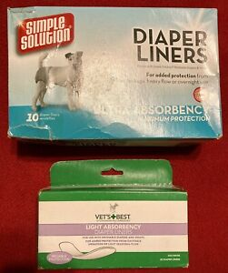 Lot Of 2 SimplSolution Dog Diaper Liners Ultra Absorbency, VetsBest Light Liners