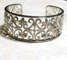 Ross Simons Sterling silver Diamond filigree swirl cuff bangle bracelet