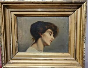 Ancien Tableau peinture Portrait Femme Huile Sur Panneau painting