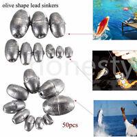 50pc Olive Shape Weights Lead Sinkers Pure Lead Making Sea Fishing Sinker Tackle