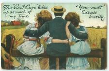 Edwardian Man Hugs 2 Women Rest Cure 1908 Antique Postcard 25341