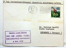 1959 CARAVELLE PARIS ROME ATHENES ISTAMBUL PAR AIR FRANCE Premier vol AC126