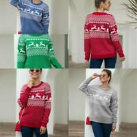 Jumper Knit Shirt Knitted Pullover Womens Knitwear Tops Sweater Christmas Warm