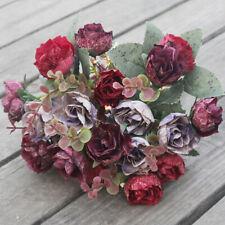 1Bunch 21Heads Artificial Retro Rose Silk Flowers Flower Floral Fake Valentines