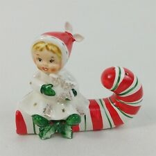 1959 Napco Girl Holding Star Sitting Candy Cane Salt & Pepper Shakers - Glued On