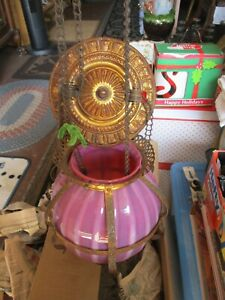 Cranberry Glass Pull Down Pulley Chain Lamp Hanging Oil Lamp Spiral Opalescent
