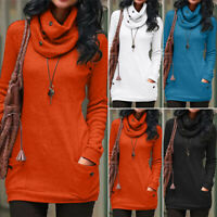 Womens Turtle Neck Knitted Sweater Pullover Winter Baggy Ladies Jumper Long Tops