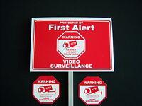1 FIRST ALERT ...VIDEO SURVEILLANCE SIGN + 2 DECALS  - 1 STAKE ..#PS-418