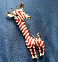 spilla oro e perle giraffa old in stock - pearl red enamel  design pin brooch