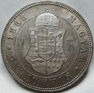 HUNGARY - AUSTRIA 1 Forint Florin 1888 About UNC #C58