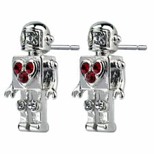 Retro Robot with Heart Tin Alloy and Red Crystal Glass Studded Earrings
