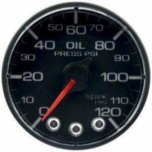 "Auto Meter P325324 2-1/16"" Oil Pressure; 0-120 PSI; Spek-Pro; Black/Black NEW"