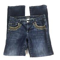 Cache' Womens Jeans Size 6 Gold Studs Dark Wash Denim Flap Pockets Boot Cut