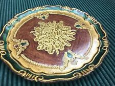 Florentine Gold Lilac Wooden Decorative Tray Plate