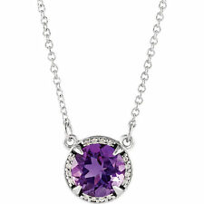 """Amethyst & Diamond 16"""" Necklace In 14K White Gold"""