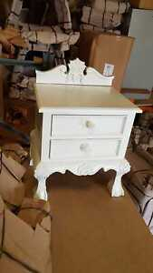 1 x WHITE Mahogany Rococo french style baroque designer Bedside table nightstand