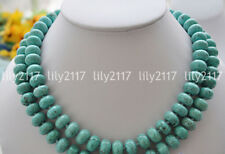 Natural 5x8mm Blue Turquoise Gemstone Rondelle Beads Necklace Jewelry 28-55''