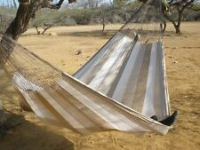 New Handwoven Mayan Caribbean Nylon Double Hammock Brown White