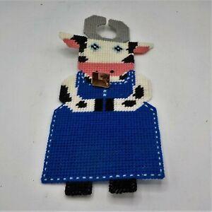 Cow with Bell Door Knob hanger Handmade Yarn Stich  Plastic Canvas