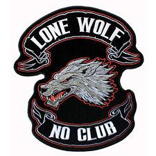 Grand Biker Lone wolf tête no club aufbügler écusson Back patch dos écusson